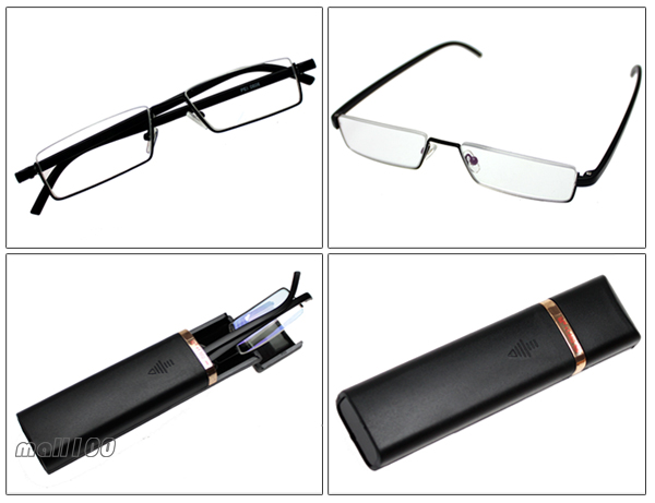 Compact Portable Black Plastic Metal Frame Reading Glasses ...
