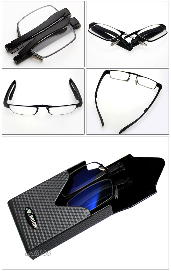 Folding Mini Reading Glasses Light Plastic Half Metal ...