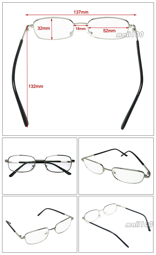 Silver Metal Frame Light Fashion Clear Reading Glasses ...
